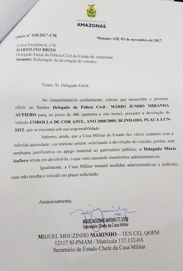 Ofício enviado pela Casa Militar ao delegado-geral pedindo devolução de carro em poder de delegado Aufiero