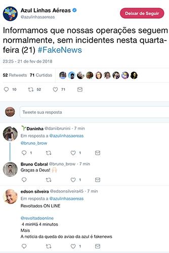 Azul desmente no Twitter notícia sobre queda de avião